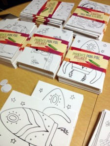 Peach's Pen Pal Project postcards ready to be place into packages