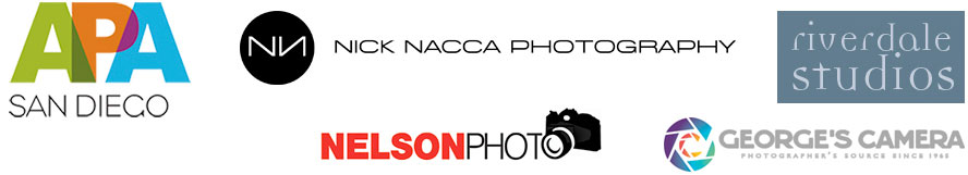 Sponsored by APA San Diego, Nick Nacca Photography, Riverdale Studios, Nelson Photo, and George's Camera