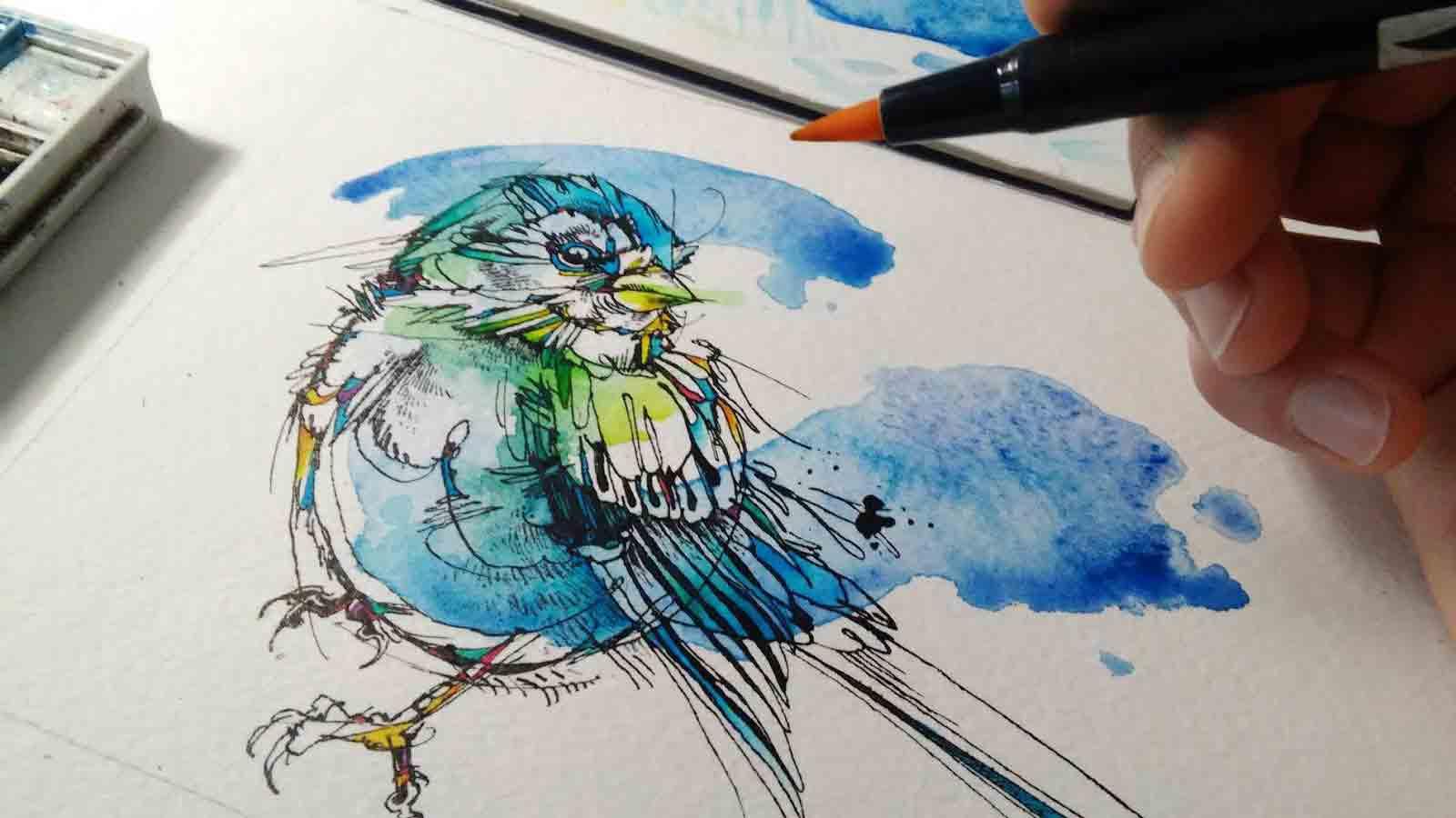 In-progress illustration of a bird